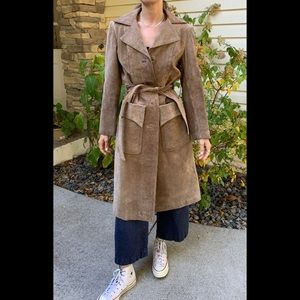Vintage Genuine leather/shade brown long coat, Made in Yugoslavia, rare find, S
